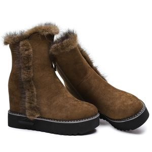 Womens Wedge Winter Warm Faux Fur Ankle Boots